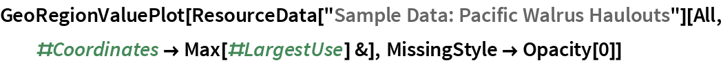 "GeoRegionValuePlot[  ResourceData[""Sample Data: Pacific Walrus Haulouts""][   All, #Coordinates -> Max[#LargestUse] &], MissingStyle -> Opacity[0]]"