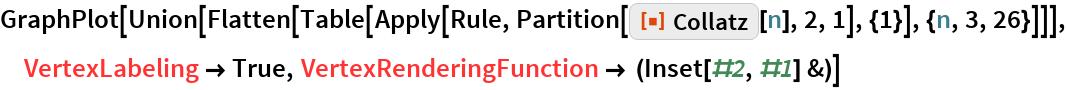 "GraphPlot[  Union[Flatten[    Table[Apply[Rule, Partition[ResourceFunction[""Collatz""][n], 2, 1], {1}], {n, 3, 26}]]], VertexLabeling -> True, VertexRenderingFunction -> (Inset[#2, #1] &)]"