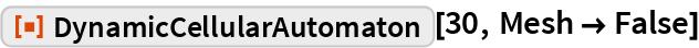 "ResourceFunction[""DynamicCellularAutomaton""][30, Mesh -> False]"
