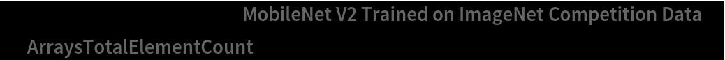 """NetInformation[  NetModel[""""MobileNet V2 Trained on ImageNet Competition Data""""], \ """"ArraysTotalElementCount""""]"""