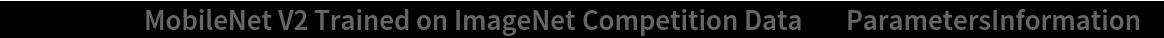 """NetModel[""""MobileNet V2 Trained on ImageNet Competition Data"""", \ """"ParametersInformation""""]"""