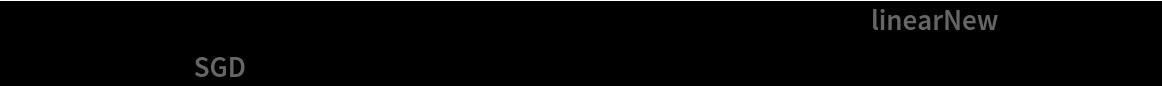 "trainedNet = NetTrain[newNet, trainSet, LearningRateMultipliers -> {""linearNew"" -> 1, _ -> 0}, Method -> ""SGD""]"