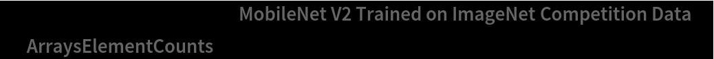 """NetInformation[  NetModel[""""MobileNet V2 Trained on ImageNet Competition Data""""], \ """"ArraysElementCounts""""]"""