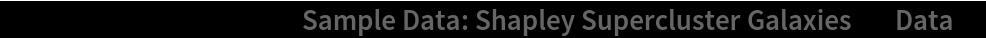 "ListPlot[ResourceData[\!\(\* TagBox[""\""\<Sample Data: Shapley Supercluster Galaxies\>\"""", #& , BoxID -> ""ResourceTag-Sample Data: Shapley Supercluster Galaxies-Input"", AutoDelete->True]\), ""Data""]]"