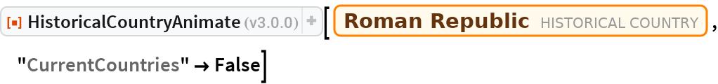 "ResourceFunction[""HistoricalCountryAnimate""][  Entity[""HistoricalCountry"", ""RomanRepublic""], ""CurrentCountries"" -> False]"