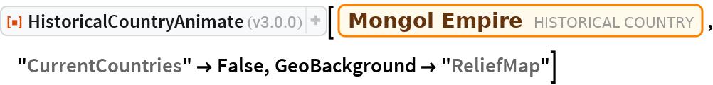 "ResourceFunction[""HistoricalCountryAnimate""][  Entity[""HistoricalCountry"", ""MongolEmpire""], ""CurrentCountries"" -> False, GeoBackground -> ""ReliefMap""]"