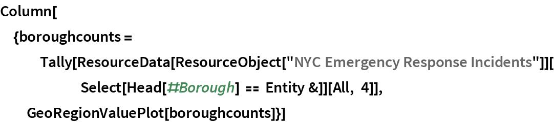 "Column[{boroughcounts = Tally[ResourceData[        ResourceObject[""NYC Emergency Response Incidents""]][       Select[Head[#Borough] == Entity &]][All, 4]],   GeoRegionValuePlot[boroughcounts]}]"