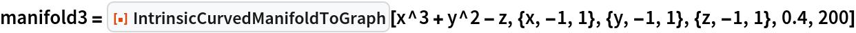 "manifold3 = ResourceFunction[""IntrinsicCurvedManifoldToGraph""][   x^3 + y^2 - z, {x, -1, 1}, {y, -1, 1}, {z, -1, 1}, 0.4, 200]"