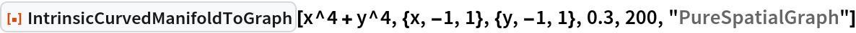 "ResourceFunction[""IntrinsicCurvedManifoldToGraph""][  x^4 + y^4, {x, -1, 1}, {y, -1, 1}, 0.3, 200, ""PureSpatialGraph""]"