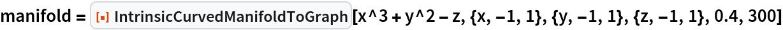 "manifold = ResourceFunction[""IntrinsicCurvedManifoldToGraph""][   x^3 + y^2 - z, {x, -1, 1}, {y, -1, 1}, {z, -1, 1}, 0.4, 300]"