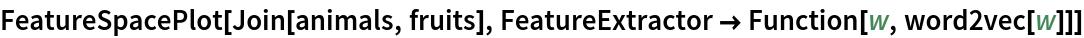 FeatureSpacePlot[Join[animals, fruits], FeatureExtractor -> Function[w, word2vec[w]]]