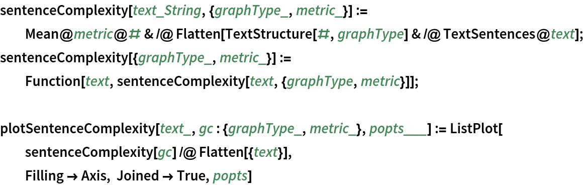 sentenceComplexity[text_String, {graphType_, metric_}] := Mean@metric@# & /@ Flatten[TextStructure[#, graphType] & /@ TextSentences@text]; sentenceComplexity[{graphType_, metric_}] := Function[text, sentenceComplexity[text, {graphType, metric}]];  plotSentenceComplexity[text_, gc : {graphType_, metric_}, popts___] :=   ListPlot[   sentenceComplexity[gc] /@ Flatten[{text}],   Filling -> Axis, Joined -> True, popts]