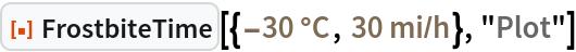"ResourceFunction[  ""FrostbiteTime""][{Quantity[-30, ""DegreesCelsius""], Quantity[30, (""Miles"")/(""Hours"")]}, ""Plot""]"