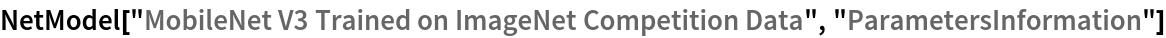 """NetModel[""""MobileNet V3 Trained on ImageNet Competition Data"""", \ """"ParametersInformation""""]"""
