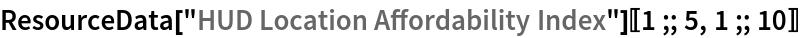 """ResourceData[""""HUD Location Affordability Index""""][[1 ;; 5, 1 ;; 10]]"""