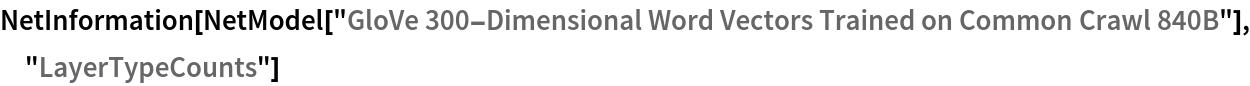 "NetInformation[  NetModel[""GloVe 300-Dimensional Word Vectors Trained on Common Crawl \ 840B""], ""LayerTypeCounts""]"