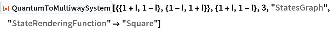"ResourceFunction[  ""QuantumToMultiwaySystem""][{{1 + I, 1 - I}, {1 - I, 1 + I}}, {1 + I, 1 - I}, 3, ""StatesGraph"", ""StateRenderingFunction"" -> ""Square""]"