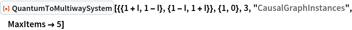 "ResourceFunction[  ""QuantumToMultiwaySystem""][{{1 + I, 1 - I}, {1 - I, 1 + I}}, {1, 0}, 3, ""CausalGraphInstances"", MaxItems -> 5]"