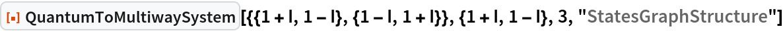 "ResourceFunction[  ""QuantumToMultiwaySystem""][{{1 + I, 1 - I}, {1 - I, 1 + I}}, {1 + I, 1 - I}, 3, ""StatesGraphStructure""]"