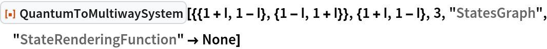 "ResourceFunction[  ""QuantumToMultiwaySystem""][{{1 + I, 1 - I}, {1 - I, 1 + I}}, {1 + I, 1 - I}, 3, ""StatesGraph"", ""StateRenderingFunction"" -> None]"