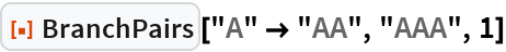 """ResourceFunction[""""BranchPairs""""][""""A"""" -> """"AA"""", """"AAA"""", 1]"""