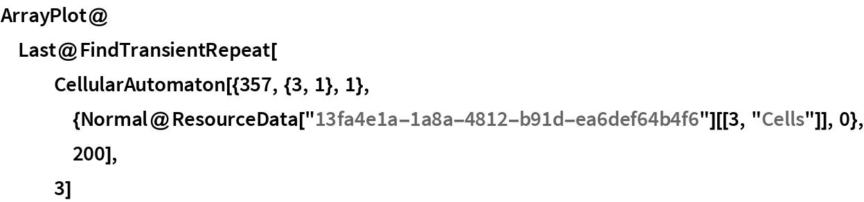 "ArrayPlot@  Last@FindTransientRepeat[    CellularAutomaton[{357, {3, 1}, 1}, {Normal@       ResourceData[""13fa4e1a-1a8a-4812-b91d-ea6def64b4f6""][[3, ""Cells""]], 0}, 200],    3]"