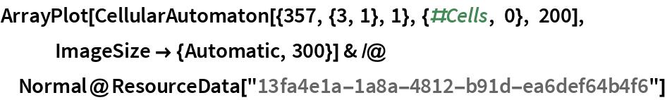 "ArrayPlot[CellularAutomaton[{357, {3, 1}, 1}, {#Cells, 0}, 200], ImageSize -> {Automatic, 300}] & /@ Normal@ResourceData[""13fa4e1a-1a8a-4812-b91d-ea6def64b4f6""]"