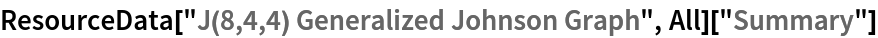 "ResourceData[""J(8,4,4) Generalized Johnson Graph"", All][""Summary""]"