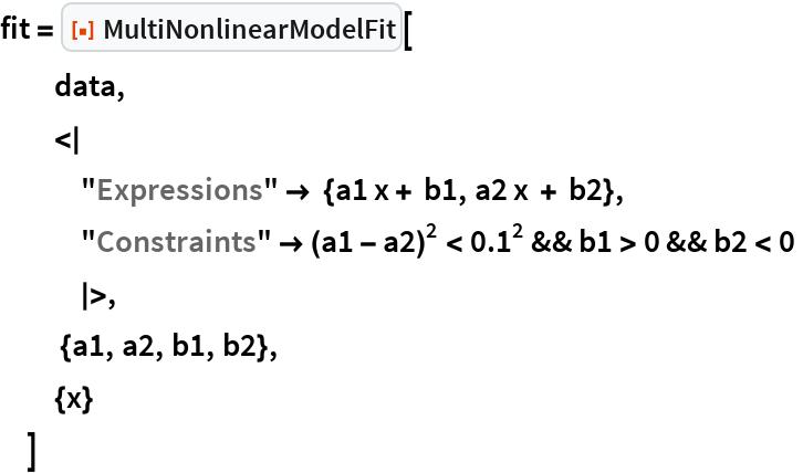 "fit = ResourceFunction[""MultiNonlinearModelFit""][   data,   <     ""Expressions"" -> {a1 x + b1, a2 x + b2},    ""Constraints"" -> (a1 - a2)^2 < 0.1^2 && b1 > 0 && b2 < 0  >,    {a1, a2, b1, b2},   {x}   ]"