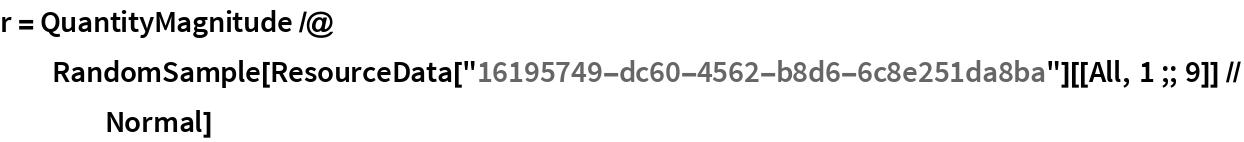 "r = QuantityMagnitude /@ RandomSample[    ResourceData[""16195749-dc60-4562-b8d6-6c8e251da8ba""][[All, 1 ;; 9]] // Normal]"
