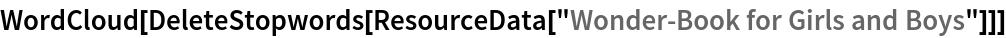 "WordCloud[  DeleteStopwords[   ResourceData[""Wonder\[Hyphen]Book for Girls and Boys""]]]"