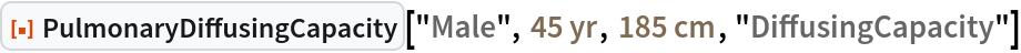 "ResourceFunction[""PulmonaryDiffusingCapacity""][""Male"", Quantity[45, ""Years""], Quantity[185, ""Centimeters""], ""DiffusingCapacity""]"