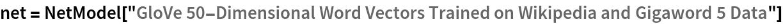 "net = NetModel[   ""GloVe 50-Dimensional Word Vectors Trained on Wikipedia and \ Gigaword 5 Data""]"