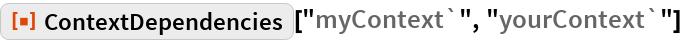 "ResourceFunction[""ContextDependencies""][""myContext`"", ""yourContext`""]"