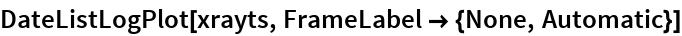 DateListLogPlot[xrayts, FrameLabel -> {None, Automatic}]