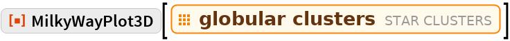 "ResourceFunction[""MilkyWayPlot3D""][  EntityClass[""StarCluster"", ""GlobularCluster""]]"