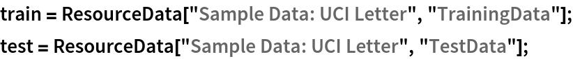 "train = ResourceData[""Sample Data: UCI Letter"", ""TrainingData""]; test = ResourceData[""Sample Data: UCI Letter"", ""TestData""];"