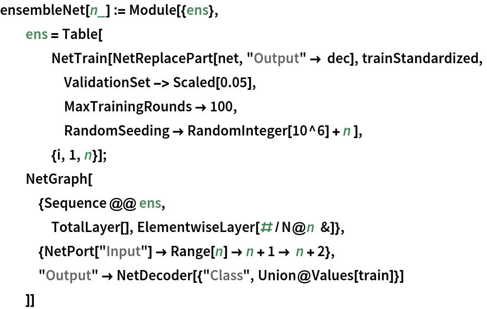 "ensembleNet[n_] := Module[{ens},   ens = Table[     NetTrain[NetReplacePart[net, ""Output"" -> dec], trainStandardized,      ValidationSet -> Scaled[0.05],      MaxTrainingRounds -> 100,      RandomSeeding -> RandomInteger[10^6] + n ],     {i, 1, n}];   NetGraph[    {Sequence @@ ens,     TotalLayer[], ElementwiseLayer[#/N@n &]},    {NetPort[""Input""] -> Range[n] -> n + 1 -> n + 2},    ""Output"" -> NetDecoder[{""Class"", Union@Values[train]}]    ]]"
