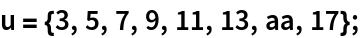 u = {3, 5, 7, 9, 11, 13, aa, 17};