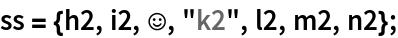 """ss = {h2, i2, \[HappySmiley], """"k2"""", l2, m2, n2};"""