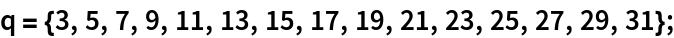 q = {3, 5, 7, 9, 11, 13, 15, 17, 19, 21, 23, 25, 27, 29, 31};