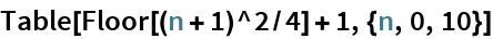 Table[Floor[(n + 1)^2/4] + 1, {n, 0, 10}]