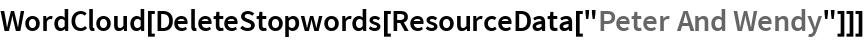 """WordCloud[DeleteStopwords[ResourceData[""""Peter And Wendy""""]]]"""