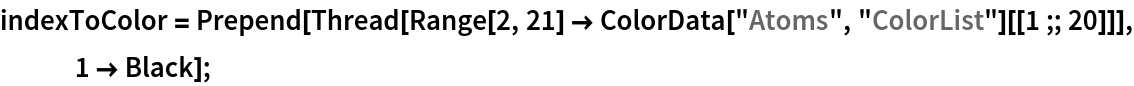 "indexToColor = Prepend[Thread[     Range[2, 21] -> ColorData[""Atoms"", ""ColorList""][[1 ;; 20]]], 1 -> Black];"