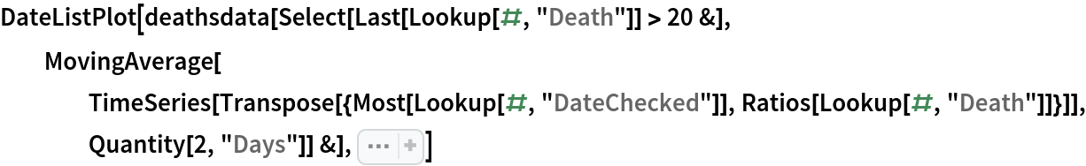 """DateListPlot[  deathsdata[Select[Last[Lookup[#, """"Death""""]] > 20 &], MovingAverage[     TimeSeries[      Transpose[{Most[Lookup[#, """"DateChecked""""]], Ratios[Lookup[#, """"Death""""]]}]], Quantity[2, """"Days""""]] &], Sequence[  PlotRange -> {{""""March 14"""", Automatic}, {1, 2}}, PlotLabel -> """"Death Increase Ratio Per State"""", PlotStyle -> Prepend[ Table[Automatic, 50],  Directive[Red,  Thickness[0.01], Dashed]]]]"""