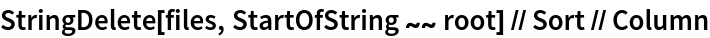StringDelete[files, StartOfString ~~ root] // Sort // Column