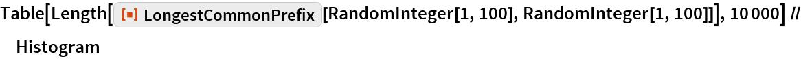 "Table[Length[    ResourceFunction[""LongestCommonPrefix""][RandomInteger[1, 100], RandomInteger[1, 100]]], 10000] // Histogram"