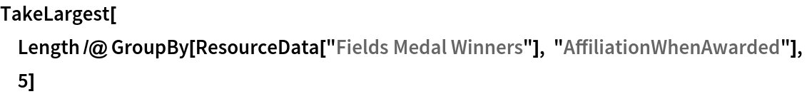 """TakeLargest[  Length /@ GroupBy[ResourceData[""""Fields Medal Winners""""], """"AffiliationWhenAwarded""""], 5]"""