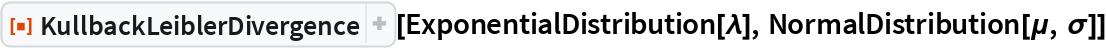 "ResourceFunction[""KullbackLeiblerDivergence""][  ExponentialDistribution[\[Lambda]], NormalDistribution[\[Mu], \[Sigma]]]"