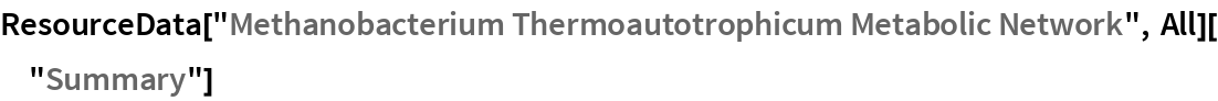 "ResourceData[""Methanobacterium Thermoautotrophicum Metabolic Network"",    All][""Summary""]"